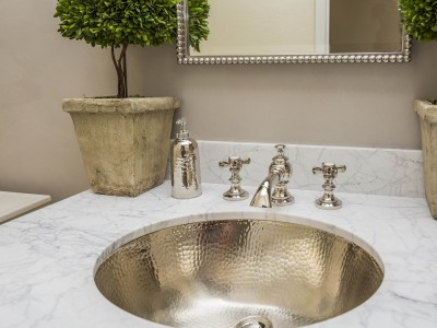 Hammered nickel sink